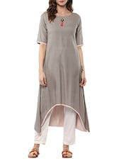 Grey Rayon Highlow Kurta - By