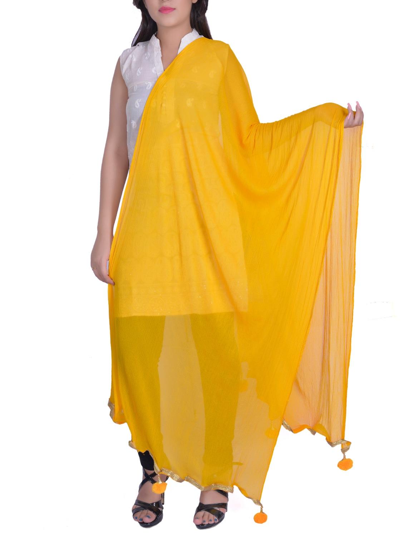 Yellow Chiffon Plain Dupatta - By