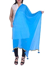 Sky Blue Chiffon Plain Dupatta - By