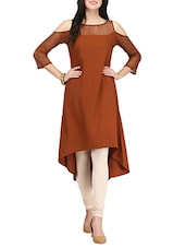 Brown Poly Crepe Highlow Kurta - By