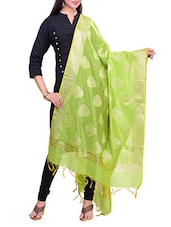 Green Cotton Blend Woven Dupatta - By