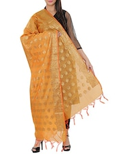 Orange Silk Banarasi Dupatta - By