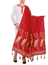 Red Woven Dupatta - By