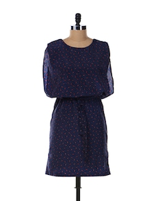 Navy Blue Printed Dress - Aamod