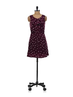 Mauve Polka Dot Dress With A Bow - Aamod