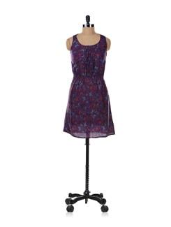Purple Printed Dress - Aamod