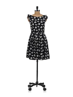Black Floral Dress - Aamod