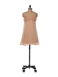 Beige Halter Neck Dress - Aamod