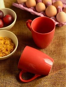Red Ceramic Coffee Mugs- Set Of 2 - Habitation