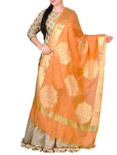 Orange Dupion Banarasi Dupatta - By