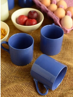 Blue Ceramic Tea Cups- Set Of 6 - Habitation