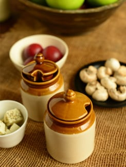 Ceramic Jar With Lids- Set Of 2 - Habitation