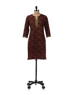 Brown And Green Kurta - Fami India