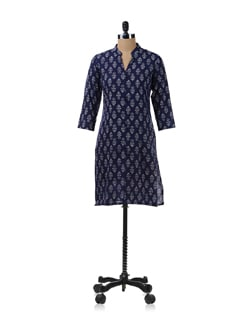 Blue Printed Kurta - Fami India