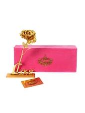 Valentine Gift 24K Gold Rose And Love Stand With Velvet Gift Box