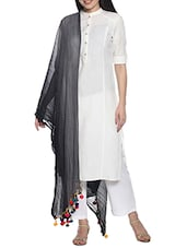 Soch Black Synthetic Dupatta With Colourful Pom-pom - By
