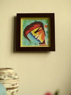 "Art Printed Wall Clock - ""Figurative Abstract I"" By Ved Prakash Bhardwaj - Artfairie"