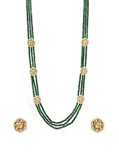 Green Metal Long Necklace - By