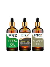 PRZ Combo Of Neem Oil, Extra Virgin Coconut Oil & Almond Oil For Hair Growth, Skin Care (3 Pcs Pack Of 15ML ) - By