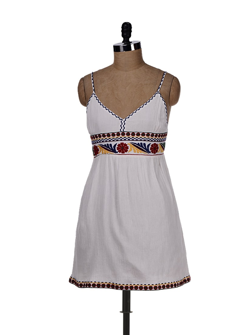 White Dress With Colourful Embroidery - REME