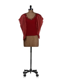 Red Top With Winged Sleeves - REME