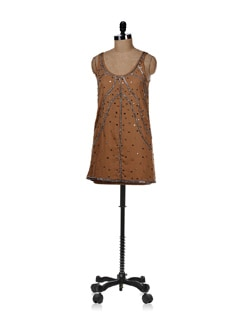 Embellished Brown Mini Dress - REME