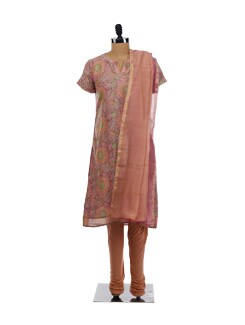 Floral Printed Kurta, Churidars And Chanderi Dupatta - KILOL
