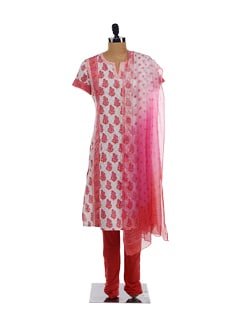 White Printed Kurta, Red Churidars And Chiffon Dupatta - KILOL