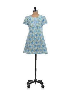 Printed Blue And Green Kurti - KILOL