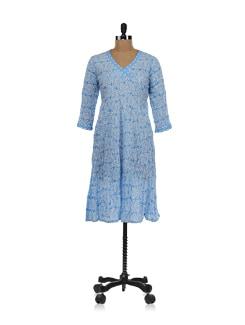 Blue Printed Angrakha Style Kurta - KILOL