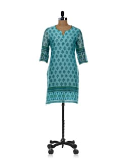 Sea Green Printed Kurta - Cotton Curio