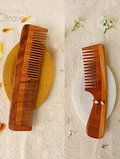 Woods And Petals Neem Wood Combs ( Set Of 2) - By