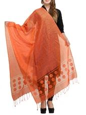 Orange Net Woven Dupatta - By