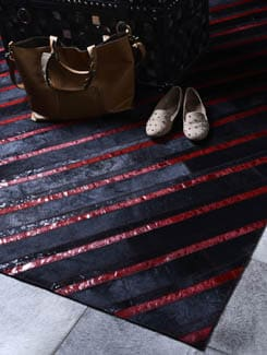 Eclectic Red Striped Carpet - Lthr