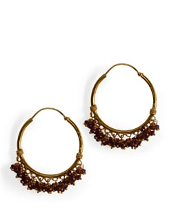 Gold Plated Silver hoops with small Garnet drops. - Posy Samriddh