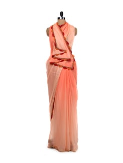 Ombre Dyed Coral Saree - LY2