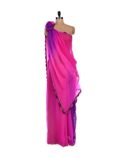 Pink And Blue Ombre Dyed Saree - LY2