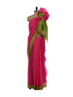 Rose Pink Cotton Saree With Green Border - DAMA