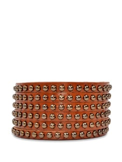 Wide Studded Wrist Band-brown - Carlton London