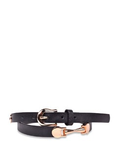 Sleek Belt With Copper Metal Buckles- Black - Carlton London