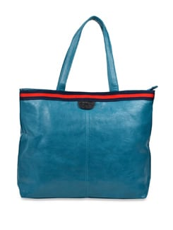 Blue Leather Handbag With Blue And Orange Strap - Carlton London