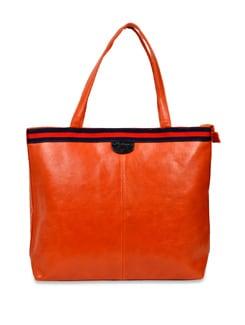 Orange Leather Handbag With Blue And Orange Strap - Carlton London