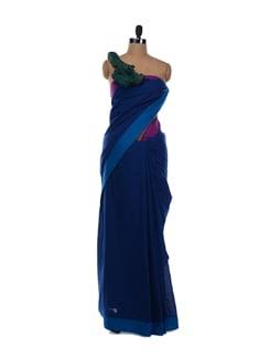 Royal Blue Saree With Green Pallu - Desiweaves