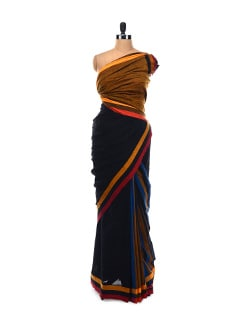 Black-Mustard Saree - Desiweaves