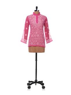 Rose Pink Chikankari Kurti - Vandeymatram