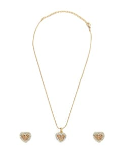 Pink Heart Pendant Necklace Set - Oleva