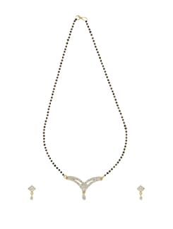Curved Gold Diamond Mangalsutra Set - Oleva