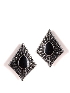 Silver Kite Earrings With Black Stone - Addons