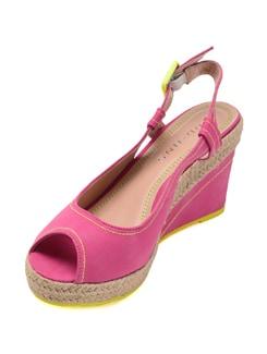 Fuschia Peep Toe Wedge Sandals - Addons