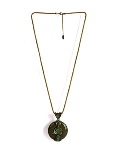 Gold Chain Necklace With Round Pendant - Addons